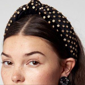 New Lele Sadoughi top knot BLACK CRYSTAL HEADB…